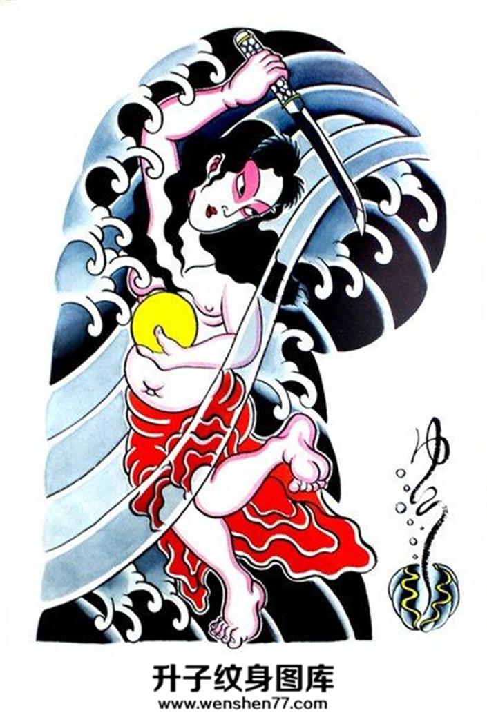 日式老传统半甲纹身手稿一张