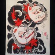 日式老传统狐狸面具半甲纹身手稿