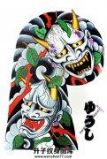 传统日式般若半甲纹身手稿