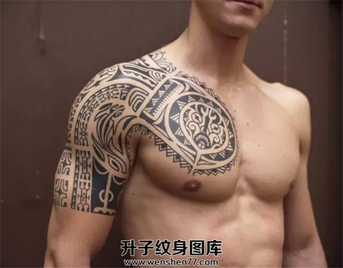 男性玛雅图腾半甲纹身图案