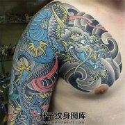 男性传统彩色半甲龙纹身