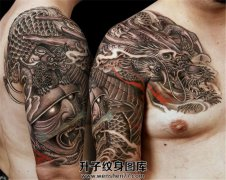 男性传统武士龙素材半甲纹身