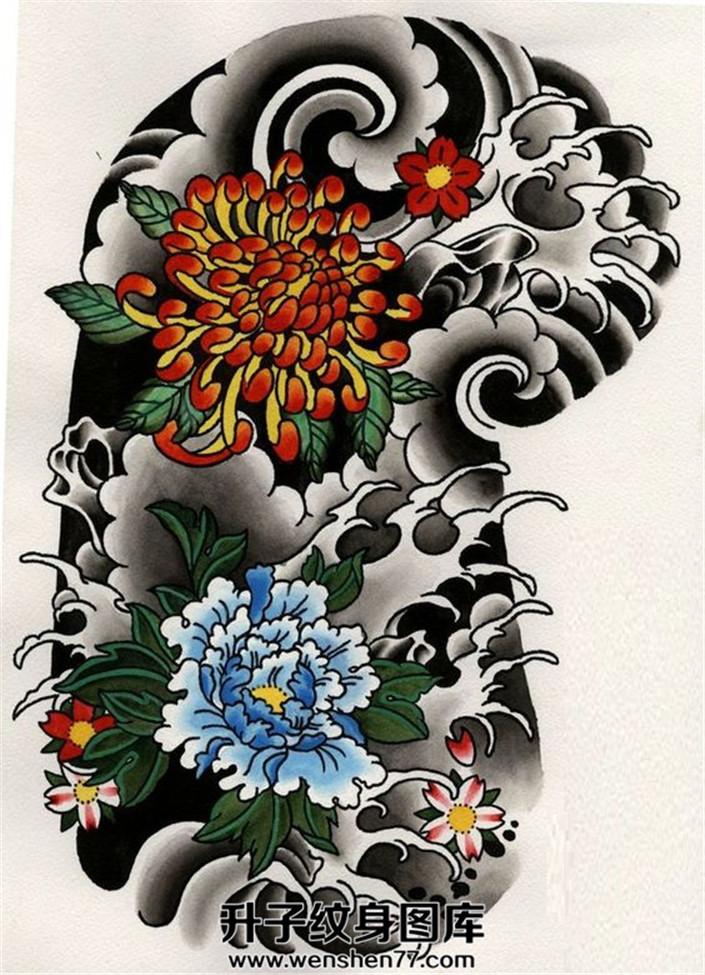 传统牡丹菊花半甲手稿