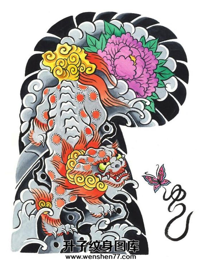 日式传统唐狮纹身520手稿