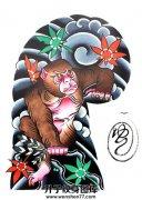 传统半甲猴子纹身手稿