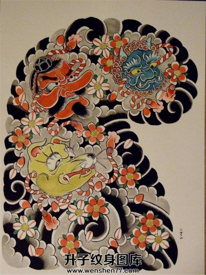 日式传统半甲纹身手稿天狗素材