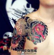 男性日式传统武士天狗半甲纹身