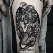 女性大腿美女蛇与王子纹身