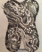 满背传统蛇纹身手稿