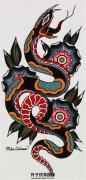 欧美old school蛇纹身手稿