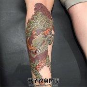 男性小腿传统彩色麒麟纹身