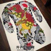 传统满背麒麟纹身手稿