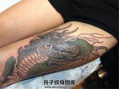 女性大腿传统彩色麒麟纹身