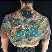 男性半背传统麒麟纹身