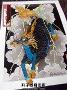 传统颜色搭配出彩的麒麟纹身手稿