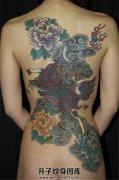 女性背部传统麒麟牡丹纹身
