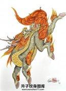 传统彩色麒麟纹身手稿