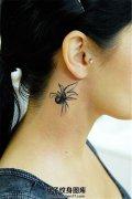 女性颈部视觉真实的蜘蛛纹身