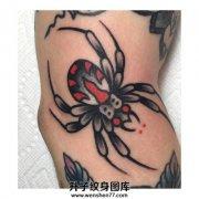 男性手肘部位的old school蜘蛛纹身
