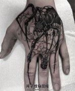 男性手背捕食的蜘蛛纹身