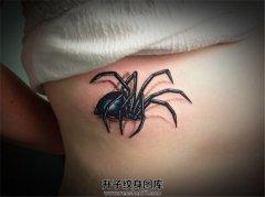 女性胸下蜘蛛纹身
