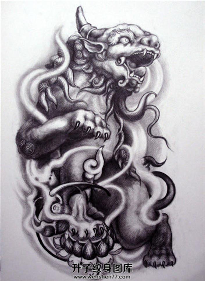 传统貔貅纹身手稿