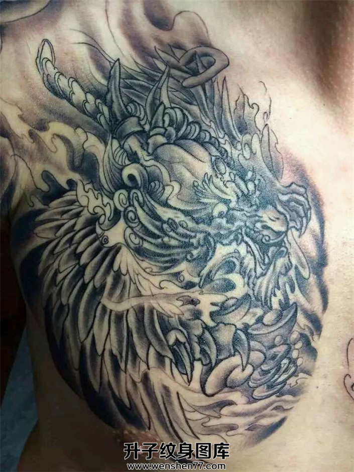 男性胸口貔貅纹身