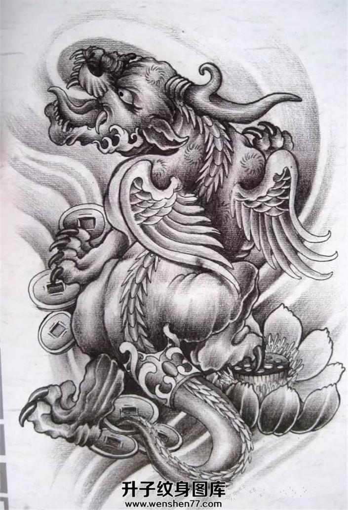 传统黑灰招财貔貅纹身