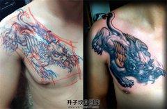 男性胸口貔貅纹身图案大全