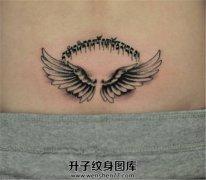 梵文纹什么位置好女性后腰梵文翅膀纹身