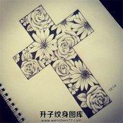 花朵十字架纹身手稿