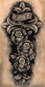 十字架玫瑰纹身手稿