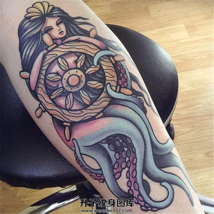 男性大臂章鱼美人鱼纹身
