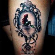 女性大腿人鱼公主纹身