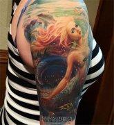 女性大臂欧美写实彩色美人鱼纹身