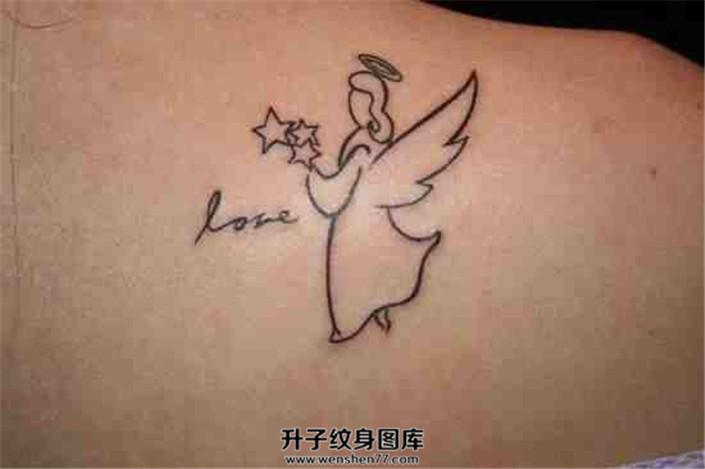 女性背部线条天使纹身