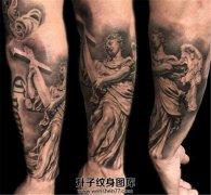 男性小臂欧美风格天使纹身