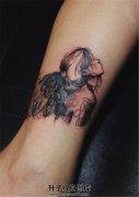 女性脚踝彩色精致天使纹身