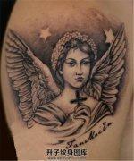 男性大臂纹身天使纹身