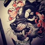 new school狼头纹身手稿一张