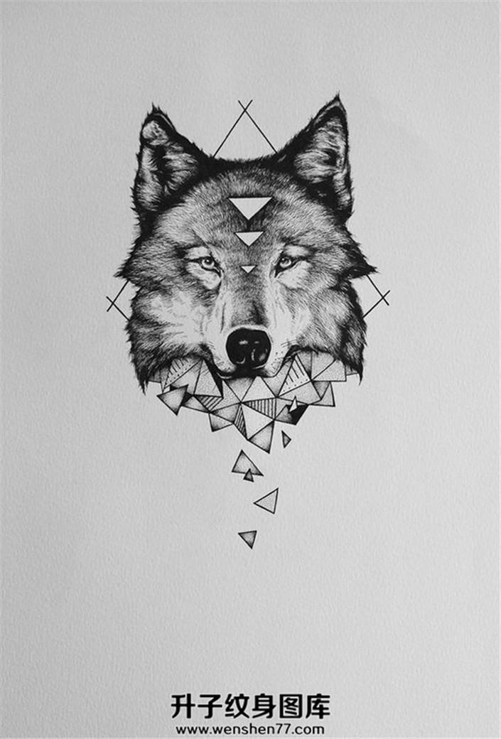 狼头与几何图案的纹身手稿一张