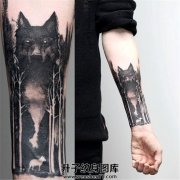 男性小臂森林狼头纹身