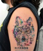 喜欢狼的女性可以选择泼墨的狼 会显得柔和