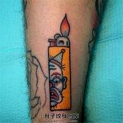 男性小臂小丑打火机纹身