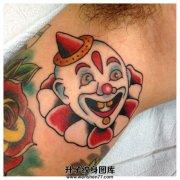 男性大臂欧美old school小丑纹身