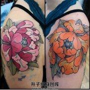 女性肩部欧美新传统牡丹纹身