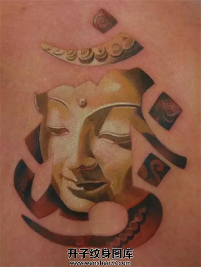 男性背部纹身佛纹身