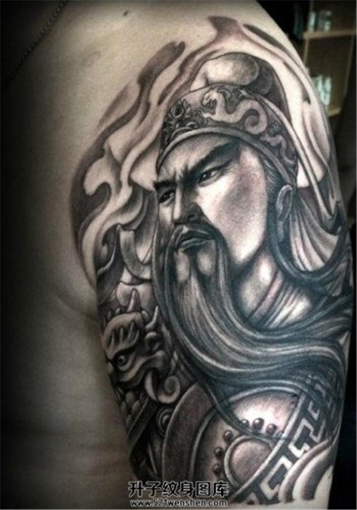 关公大臂纹身手稿图片展示