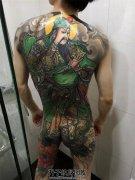 男性满背彩色传统纹身关公纹身