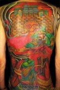 男性彩色满背关公纹身